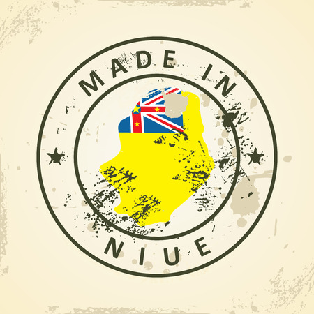 niue: Grunge stamp with map flag of Niue - vector illustration
