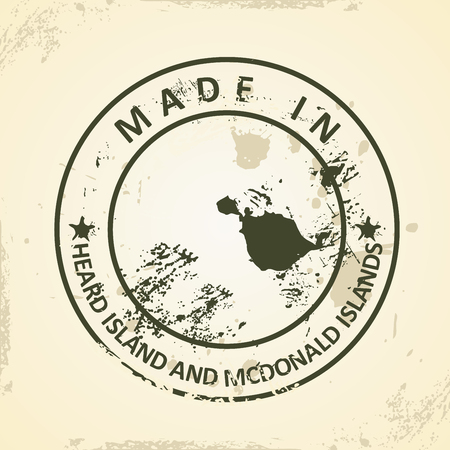 heard: Grunge stamp with map of Heard Island and McDonald Islands - vector illustration Illustration