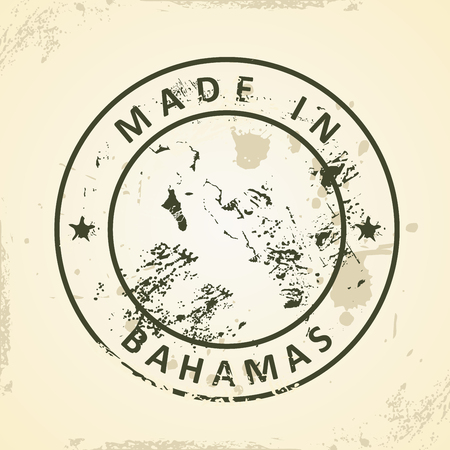 bahamian: Grunge stamp with map of Bahamas - vector illustration