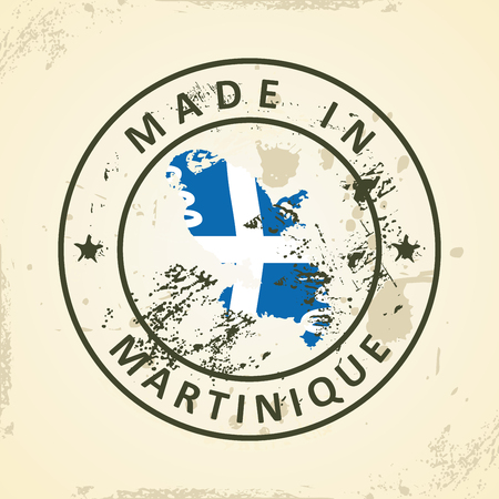 Grunge stamp with map flag of Martinique - vector illustration