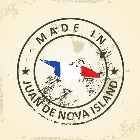 nova: Grunge stamp with map flag of Juan de Nova Island - vector illustration