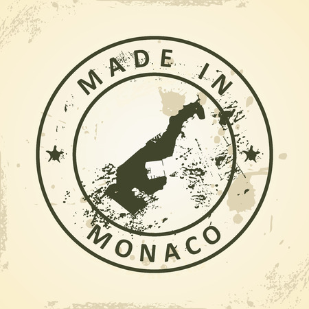 monegasque: Grunge stamp with map of Monaco - vector illustration