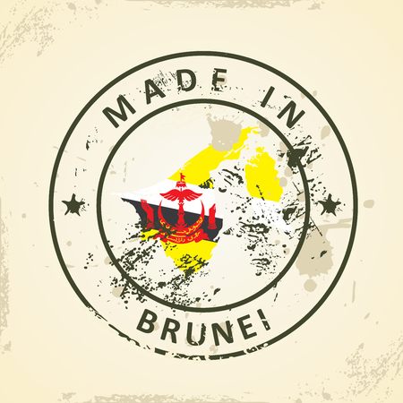 map of brunei: Grunge stamp with map flag of Brunei - vector illustration