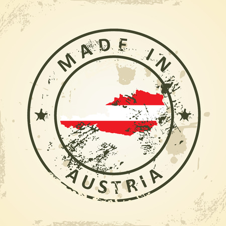 shilouette: Grunge stamp with map flag of Austria - vector illustration