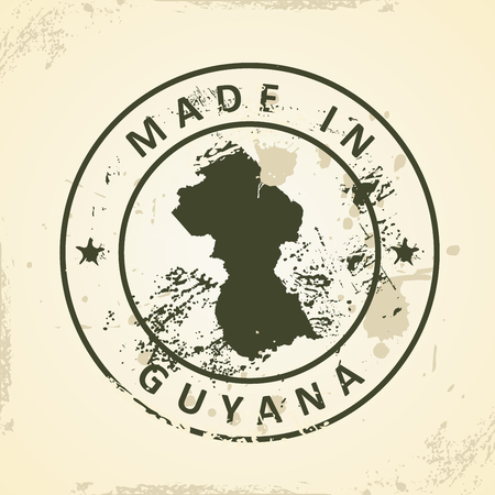 guyanese: Grunge stamp with map of Guyana - vector illustration
