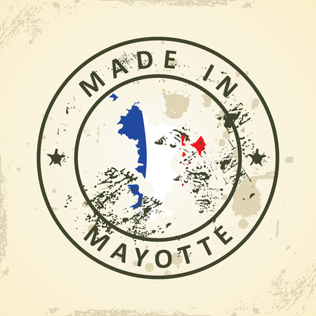 mayotte: Grunge stamp with map flag of Mayotte - vector illustration