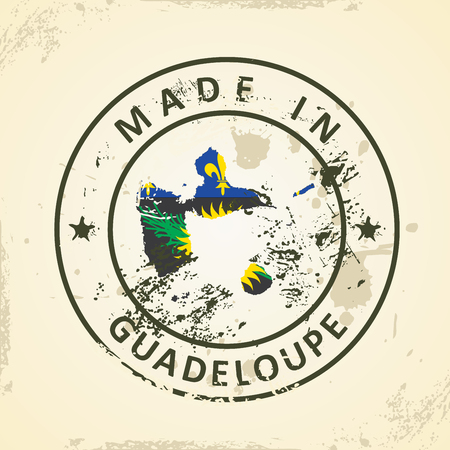 guadeloupe: Grunge stamp with map flag of Guadeloupe - vector illustration Illustration