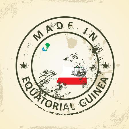 equatorial: Grunge stamp with map flag of Equatorial Guinea - vector illustration