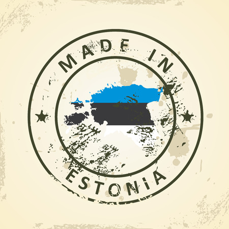 shilouette: Grunge stamp with map flag of Estonia - vector illustration