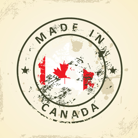 alberta: Grunge stamp with map flag of Canada - vector illustration