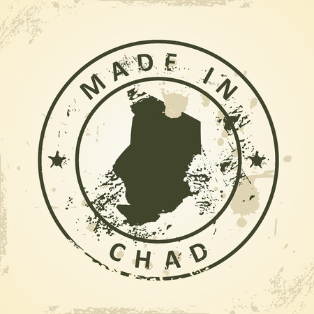 chadian: Grunge stamp with map of Chad - vector illustration