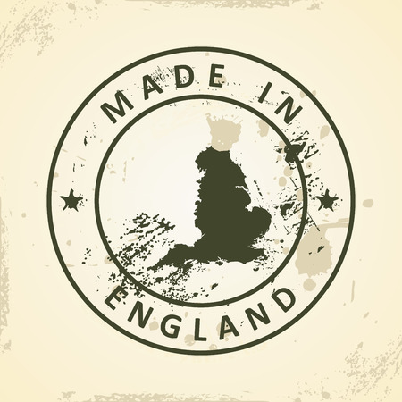 britan: Grunge stamp with map of England - vector illustration