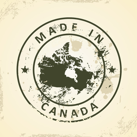 newfoundland: Grunge stamp with map of Canada - vector illustration Illustration
