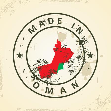 southwest asia: Grunge stamp with map flag of Oman - vector illustration Illustration