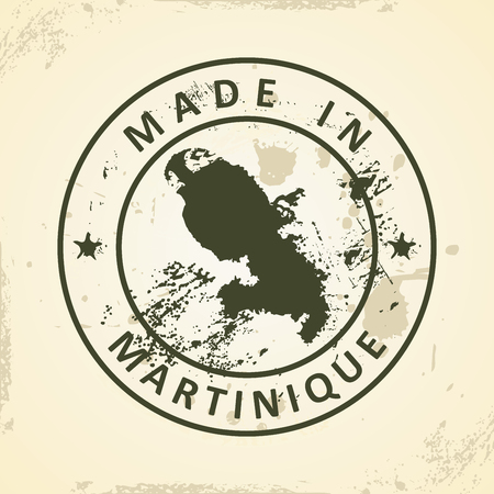 Grunge stamp with map of Martinique - vector illustration