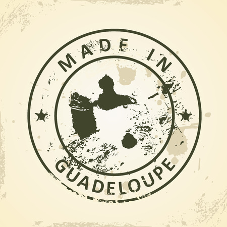 guadeloupe: Grunge stamp with map of Guadeloupe - vector illustration