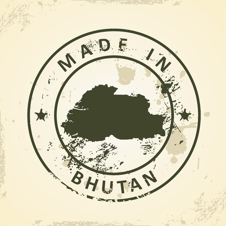 shilouette: Grunge stamp with map of Bhutan - vector illustration Illustration
