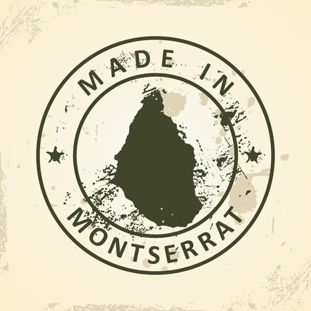 montserrat: Grunge stamp with map of Montserrat - vector illustration Illustration