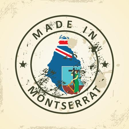 montserrat: Grunge stamp with map flag of Montserrat - vector illustration Illustration