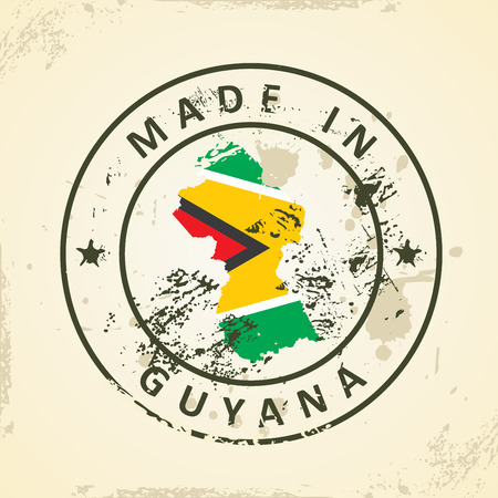 guyanese: Grunge stamp with map flag of Guyana - vector illustration