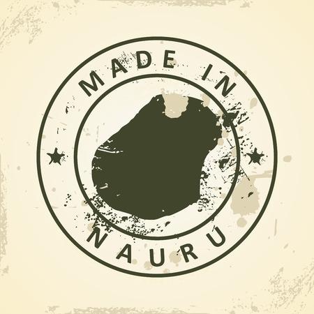 nauru: Grunge stamp with map of Nauru - vector illustration Illustration
