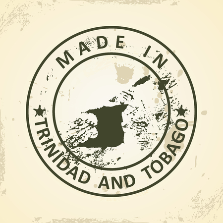 trinidadian: Grunge stamp with map of Trinidad and Tobago - vector illustration