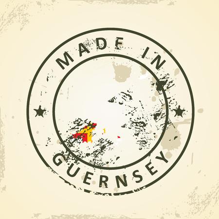 guernsey: Grunge stamp with map flag of Guernsey - vector illustration Illustration