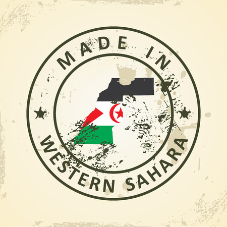 pentacle: Grunge stamp with map flag of Western Sahara - vector illustration Illustration