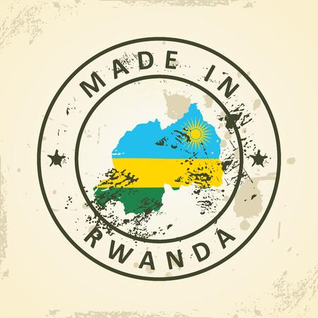 rwanda: Grunge stamp with map flag of Rwanda - vector illustration