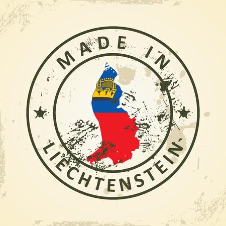 liechtenstein: Grunge stamp with map flag of Liechtenstein - vector illustration Illustration