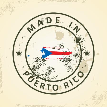 bandera de puerto rico: Grunge sello con mapa de la bandera de Puerto Rico - ilustración vectorial