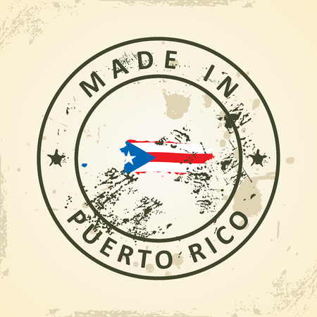 pentacle: Grunge stamp with map flag of Puerto Rico - vector illustration
