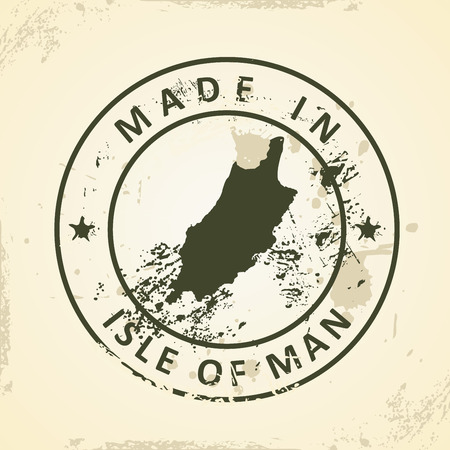 british isles: Grunge stamp with map of Isle of Man - vector illustration