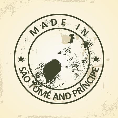 principe: Grunge sello con mapa de Santo Tomé y Príncipe - ilustración vectorial Vectores