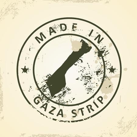 gaza: Grunge stamp with map of Gaza Strip - vector illustration