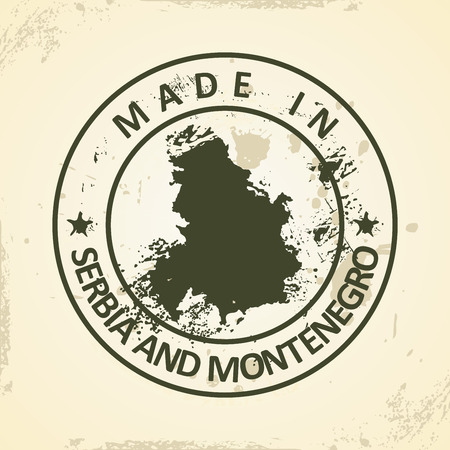 montenegro: Grunge stamp with map of Serbia and Montenegro - vector illustration