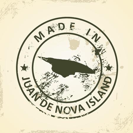 nova: Grunge stamp with map of Juan de Nova Island - vector illustration