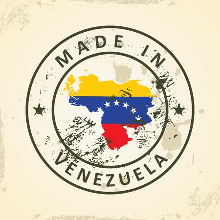 mapa de venezuela: Grunge sello con mapa de la bandera de Venezuela - ilustración vectorial