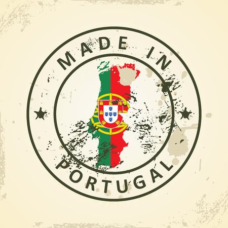 Grunge stamp with map flag of Portugal - vector illustration