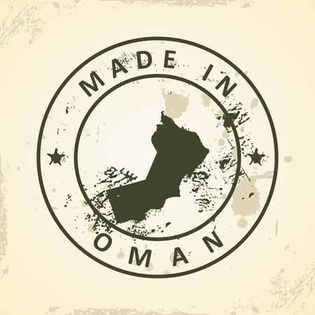 southwest asia: Grunge stamp with map of Oman - vector illustration