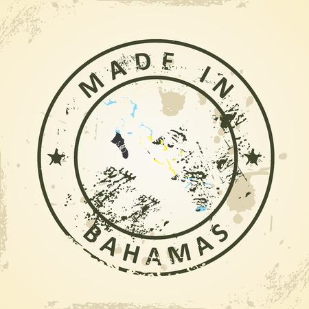 bahamas map: Grunge stamp with map flag of Bahamas - vector illustration