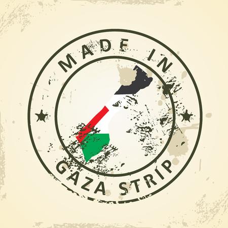 gaza: Grunge stamp with map flag of Gaza Strip - vector illustration