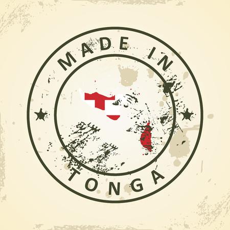 tonga: Grunge stamp with map flag of Tonga - vector illustration