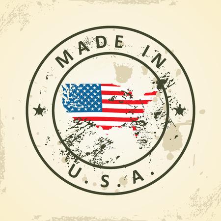 colorado flag: Grunge stamp with map flag of USA - vector illustration Illustration