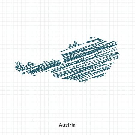 austria map: Doodle sketch of Austria map - illustration
