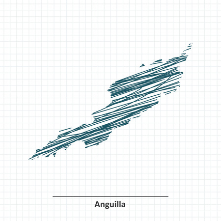 anguilla: Doodle sketch of Anguilla map - illustration
