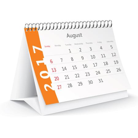 thursday: August 2017 desk calendar - illustration