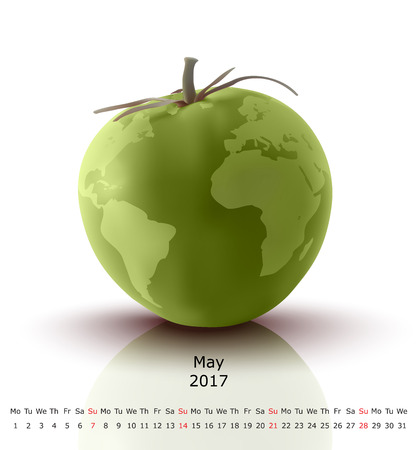 May 2017 tomato calendar - vector illustration