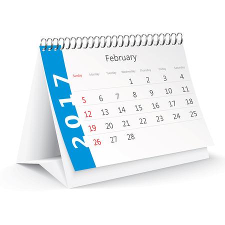 thursday: February 2017 desk calendar - illustration