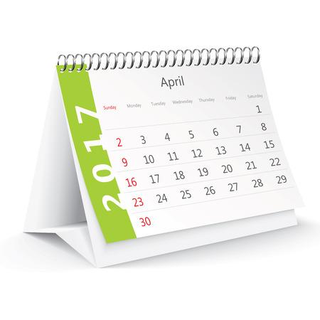desk calendar: April 2017 desk calendar - illustration Illustration